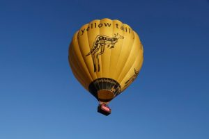 Dreams project with elderly lady and nurse caregiver hot air balloon floating in the blue sky