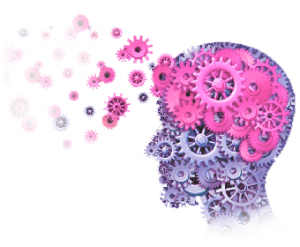 graphic of a brain made from pink cogs with the cogs leaving the brain as it is unlocked